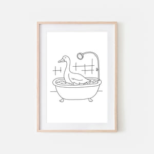 Goose - Farm Animal in Bathtub Wall Art - Funny Bathroom Decor - Black and White Drawing - Downloadable Print