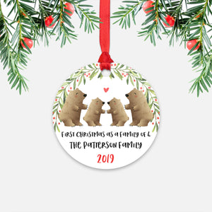 Grizzly Bear Animal First Christmas as a Family of 4 Personalized Ornament for New Baby Girl Boy - Round Aluminum - Red ribbon