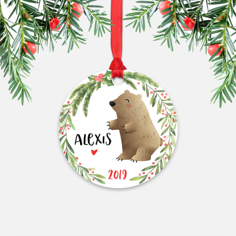 Grizzly Bear Woodland Animal Personalized Kids Name Christmas Ornament for Boy or Girl - Round Aluminum - Red ribbon