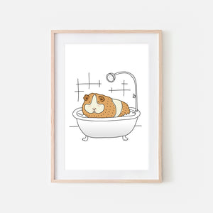 Guinea Pig - Animal in Bathtub Art - Funny Pet Theme Bathroom Wall Decor for Kids - Printable Digital Download Illustration