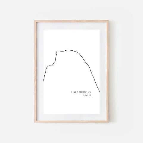 Half Dome Yosemite National Park California CA USA Mountain Wall Art Print - Minimalist Peak Summit Elevation Contour One Line Drawing - Abstract Landscape - Black and White Home Decor Rock Climbing Hiking Decor - Large Small Shipped Paper Print or Poster - OR - Downloadable Art Print DIY Digital Printable Instant Download - By Happy Cat Prints