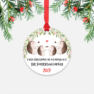 Hedgehog Animal First Christmas as a Family of 4 Personalized Ornament for New Baby Girl Boy - Round Aluminum - Red ribbon