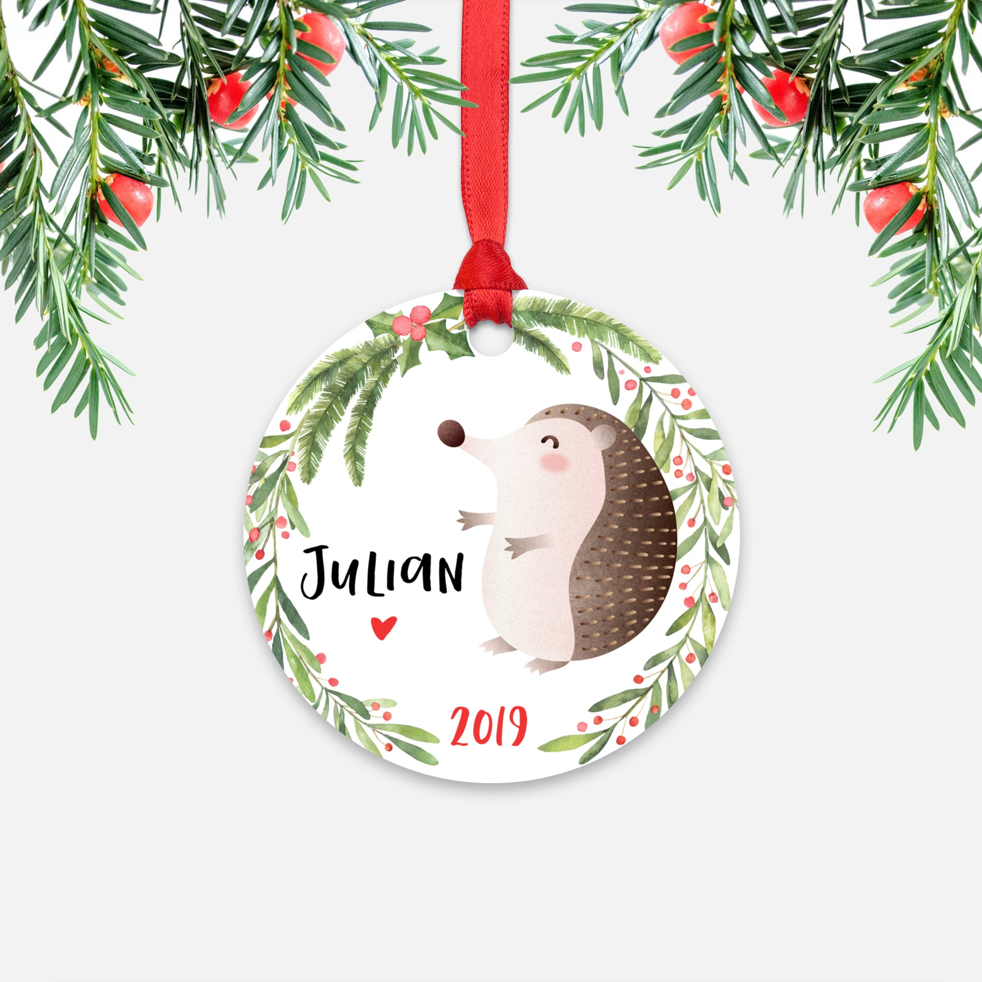 Hedgehog Woodland Animal Personalized Kids Name Christmas Ornament for Boy or Girl - Round Aluminum - Red ribbon