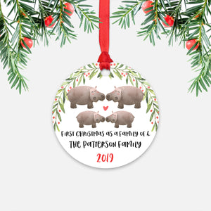 Hippo Hippopotamus Animal First Christmas as a Family of 4 Personalized Ornament for New Baby Girl Boy - Round Aluminum - Red ribbon