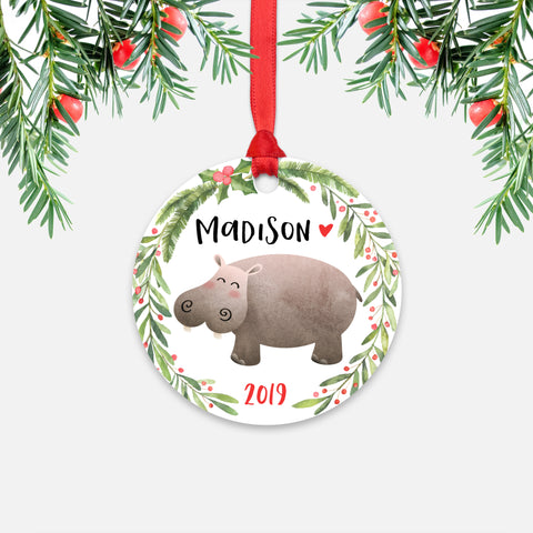 Hippo Hippopotamus Jungle Animal Personalized Kids Name Christmas Ornament for Boy or Girl - Round Aluminum - Red ribbon