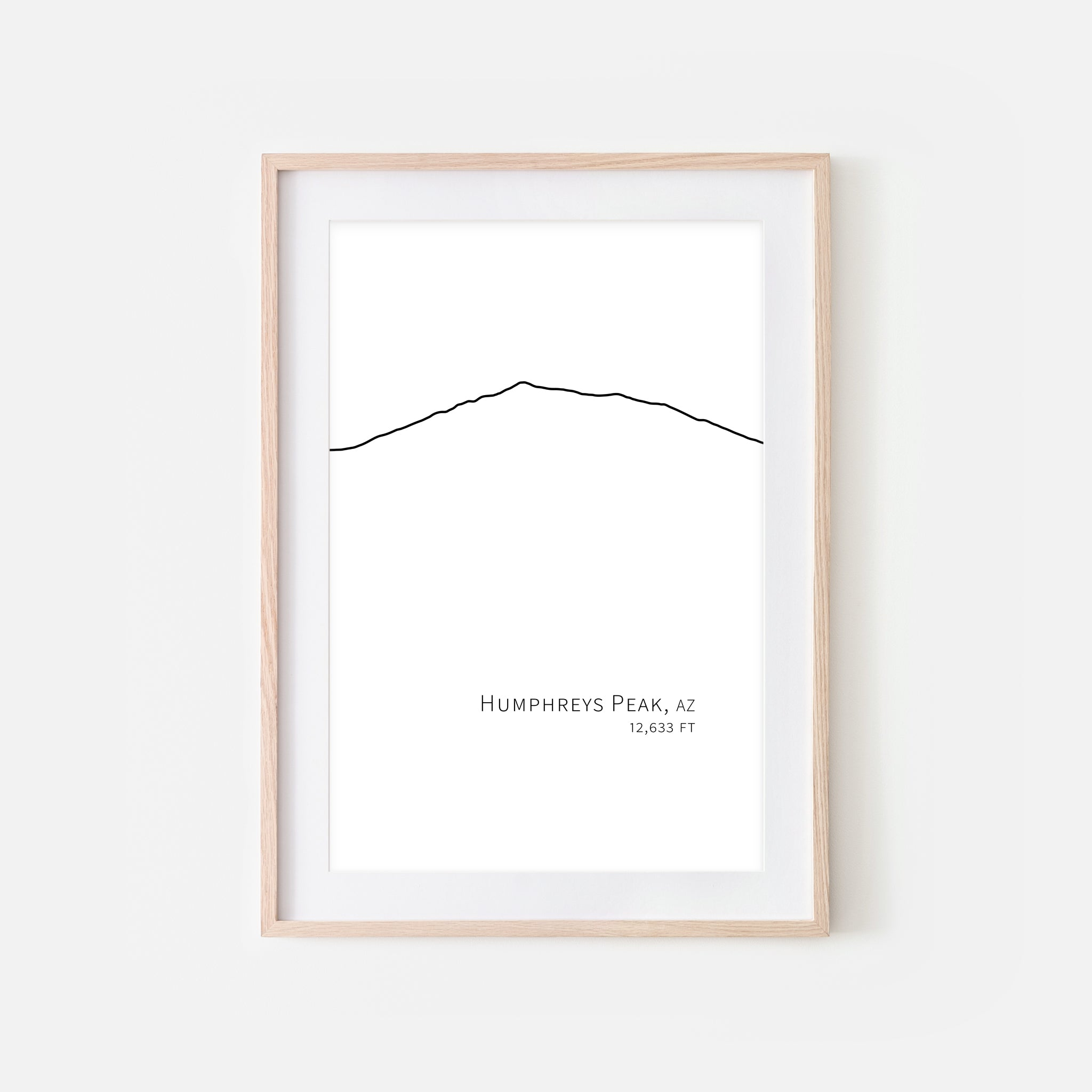 Humphreys Peak Arizona AZ USA Mountain Wall Art Print - Minimalist Peak Summit Elevation Contour One Line Drawing - Abstract Landscape - Black and White Home Decor Climbing Hiking Decor - Large Small Shipped Paper Print or Poster - OR - Downloadable Art Print DIY Digital Printable Instant Download - By Happy Cat Prints