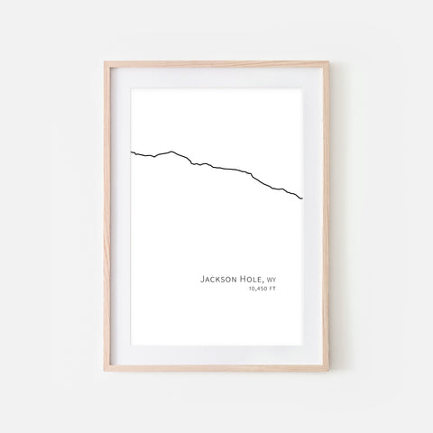 Jackson Hole Mountain Resort Wyoming WY USA Wall Art Print - Minimalist Peak Summit Elevation Contour One Line Drawing - Abstract Landscape - Black and White Home Decor Climbing Hiking Decor - Large Small Shipped Paper Print or Poster - OR - Downloadable Art Print DIY Digital Printable Instant Download - By Happy Cat Prints