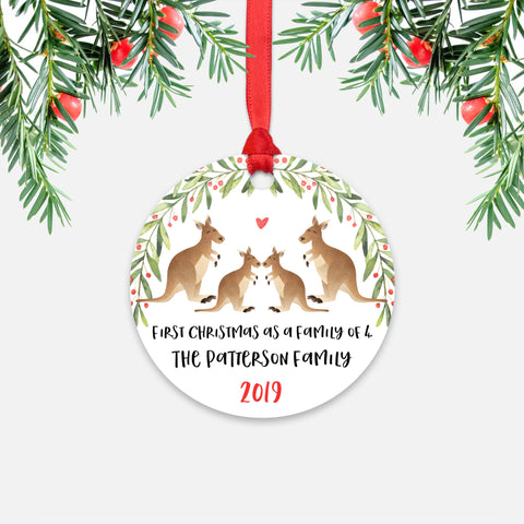 Kangaroo Animal First Christmas as a Family of 4 Personalized Ornament for New Baby Girl Boy - Round Aluminum - Red ribbon