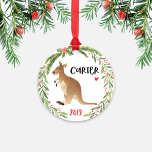 Kangaroo Australian Animal Personalized Kids Name Christmas Ornament for Boy or Girl - Round Aluminum - Red ribbon
