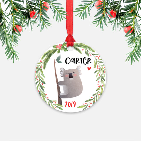 Koala Bear Australian Animal Personalized Kids Name Christmas Ornament for Boy or Girl - Round Aluminum - Red ribbon