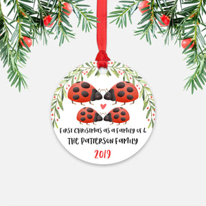 Ladybug Animal First Christmas as a Family of 4 Personalized Ornament for New Baby Girl Boy - Round Aluminum - Red ribbon