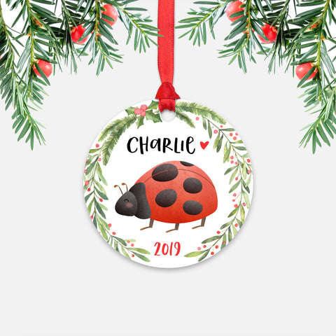 Ladybug Insect Bug Animal Personalized Kids Name Christmas Ornament for Boy or Girl - Round Aluminum - Red ribbon