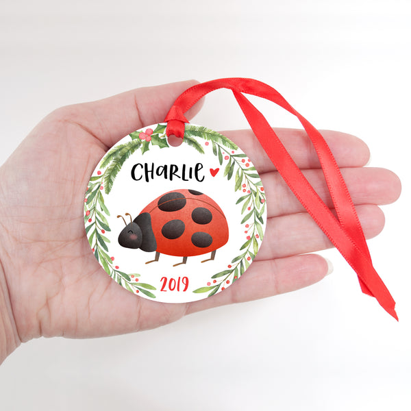 Ladybug Insect Bug Animal Personalized Kids Name Christmas Ornament for Boy or Girl - Round Aluminum - In hand