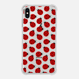 Ladybug Pattern Ladybird Beetle Insect Fun Cute Ladybug Lover Gift Red Black Clear iPhone Case for XR XS Max X 8 7 6 6s Plus - By Happy Cat Prints