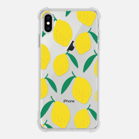 Lemon Citrus Pattern Tropical Fruit Yellow Cute Clear iPhone Case for XR XS Max X 8 7 6 6s Plus - By Happy Cat Prints