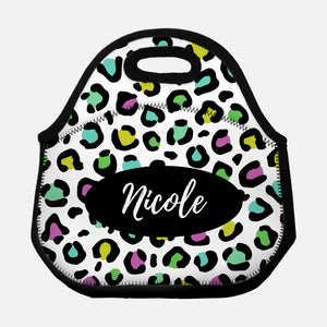 Leopard Print Animal Pattern Black Colorful Bright Colors Pink Turquoise Green Yellow Personalized Name Lunch Tote Bag Neoprene Insulated - By Happy Cat Prints