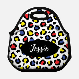 Leopard Print Animal Pattern Black Colorful Primary Colors Red Blue Yellow Personalized Name Lunch Tote Bag Neoprene Insulated - By Happy Cat Prints