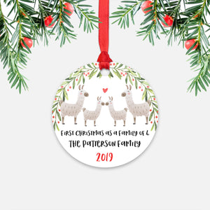 Llama Alpaca Animal First Christmas as a Family of 4 Personalized Ornament for New Baby Girl Boy - Round Aluminum - Red ribbon