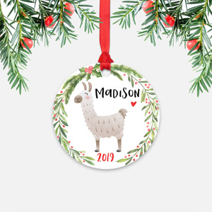 Llama Alpaca Farm Animal Personalized Kids Name Christmas Ornament for Boy or Girl - Round Aluminum - Red ribbon