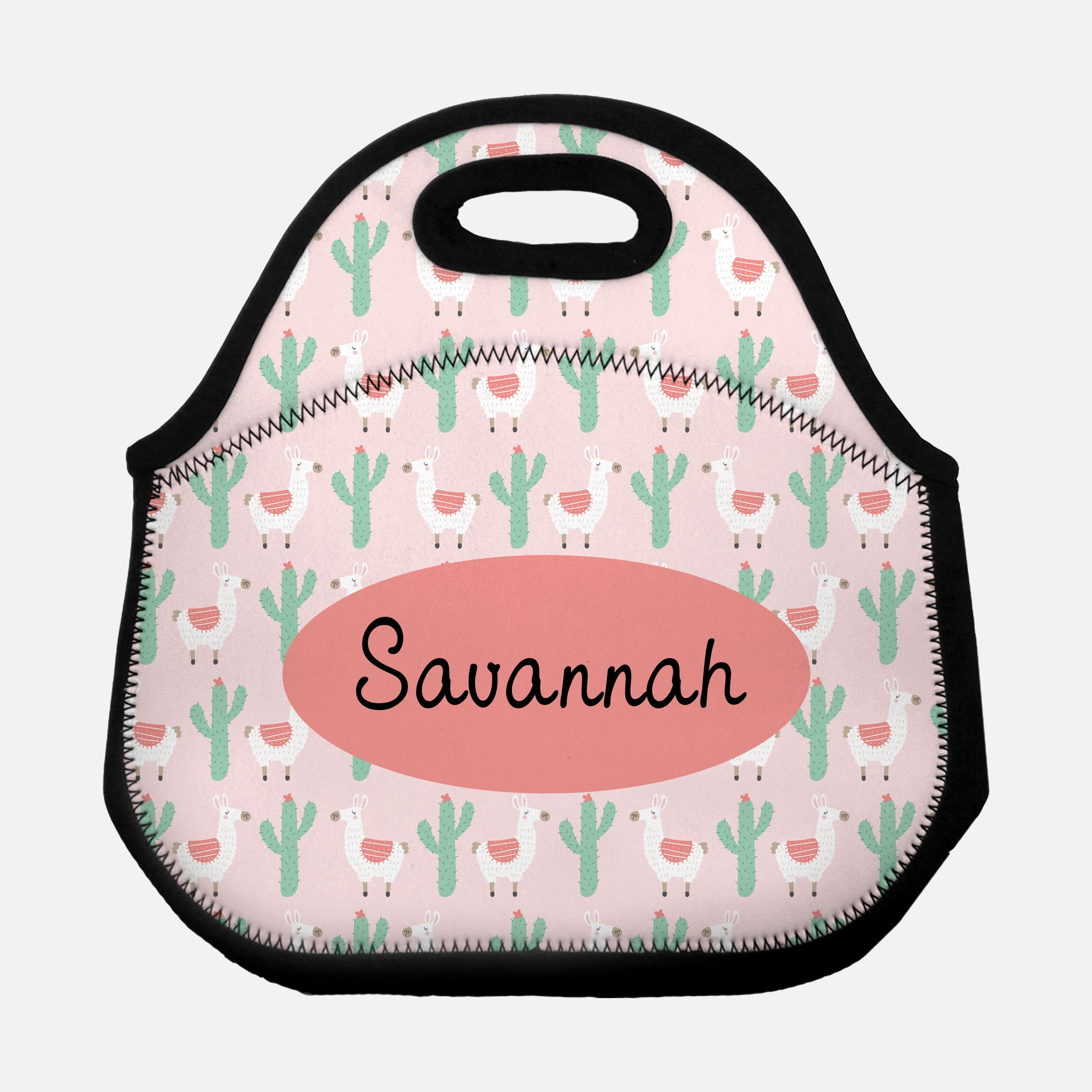 Llama Cactus Alpaca Pattern Light Pink Coral Mint Green Pastel Personalized Name Lunch Tote Bag Neoprene Insulated - By Happy Cat Prints