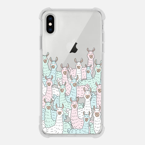 Llama Lover Gift Alpaca Crowd Cute Fun Animal Pastel Clear iPhone Case for XR XS Max X 8 7 6 6s Plus - By Happy Cat Prints