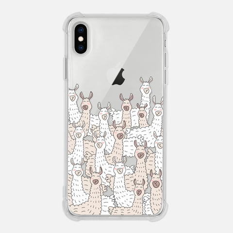 Llama Lover Gift Alpaca Crowd Cute Fun Animal White Beige Clear iPhone Case for XR XS Max X 8 7 6 6s Plus - By Happy Cat Prints