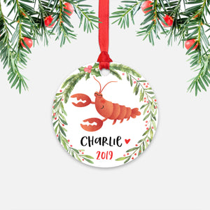 Lobster Sea Ocean Animal Personalized Kids Name Christmas Ornament for Boy or Girl - Round Aluminum - Red ribbon