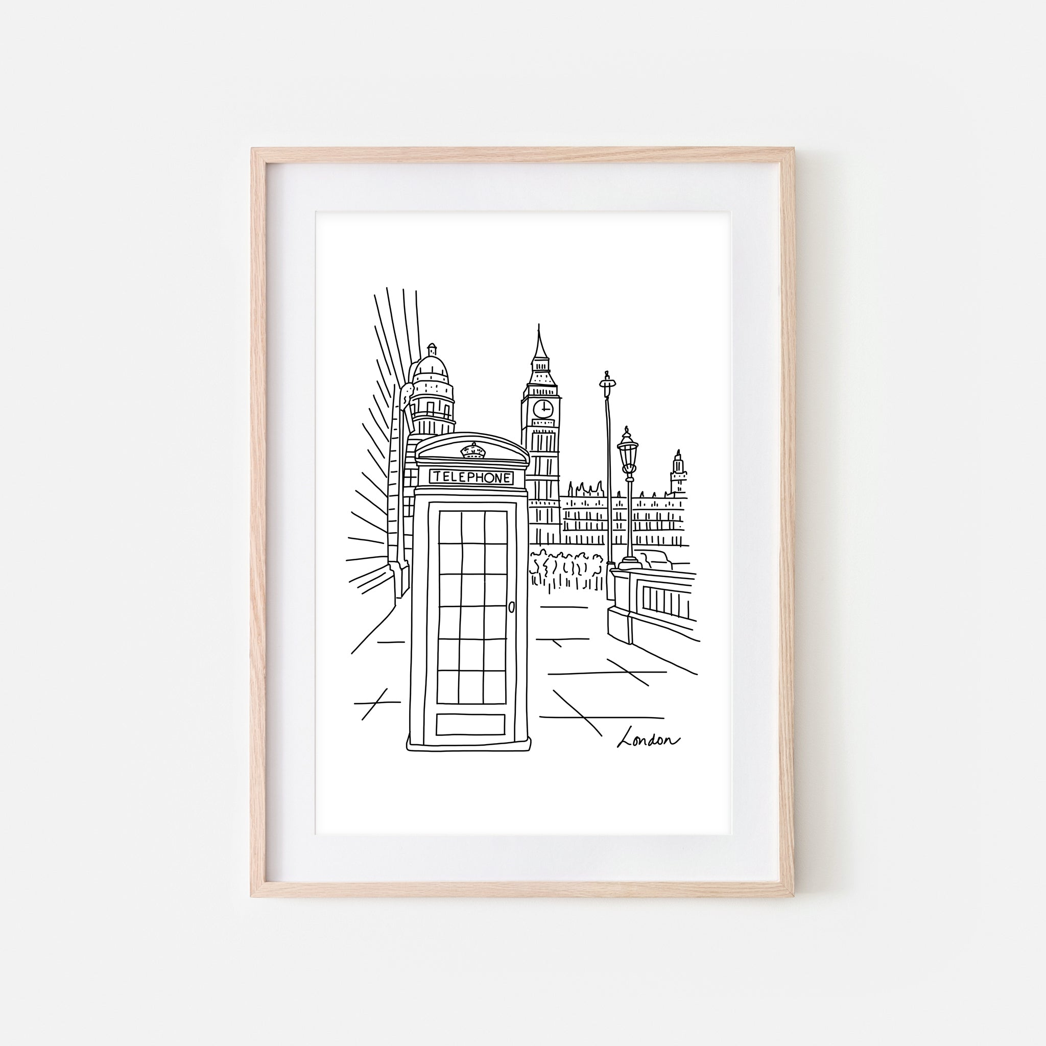 London No. 1 - Telephone Booth & Big Ben Wall Art - Black and White Line Drawing - Print, Poster or Printable Download