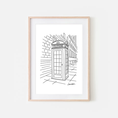 London No. 2 - Telephone Booth Wall Art - Black and White Line Drawing - Print, Poster or Printable Download