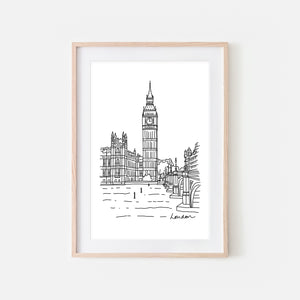 London No. 3 - Big Ben Clock Tower Wall Art - Black and White Line Drawing - Print, Poster or Printable Download