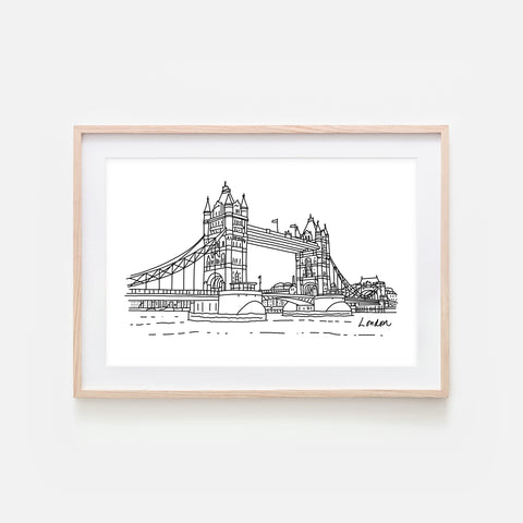 London No. 4 - Tower Bridge Wall Art - Black and White Line Drawing - Print, Poster or Printable Download