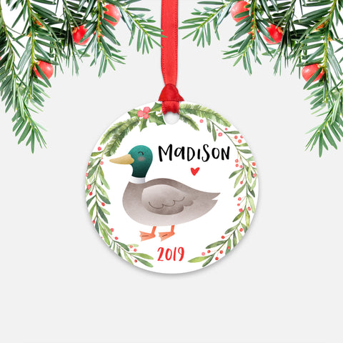 Mallard Duck Farm Animal Personalized Kids Name Christmas Ornament for Boy or Girl - Round Aluminum - Red ribbon