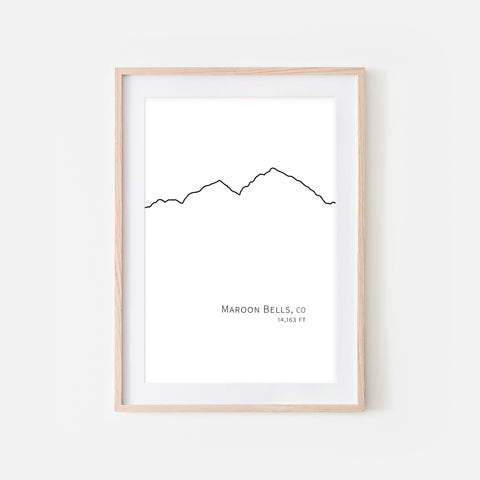 Maroon Bells Colorado CO USA Mountain Wall Art Print - Minimalist Peak Summit Elevation Contour One Line Drawing - Abstract Landscape - Black and White Home Decor Climbing Hiking Decor - Large Small Shipped Paper Print or Poster - OR - Downloadable Art Print DIY Digital Printable Instant Download - By Happy Cat Prints