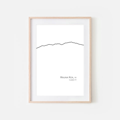 Mauna Kea Hawaii HI USA Mountain Wall Art Print - Minimalist Peak Summit Elevation Contour One Line Drawing - Abstract Landscape - Black and White Home Decor Climbing Hiking Decor - Large Small Shipped Paper Print or Poster - OR - Downloadable Art Print DIY Digital Printable Instant Download - By Happy Cat Prints