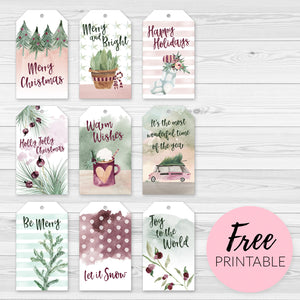 Free Printable Christmas Gift Tags - Nine Plum and Green Watercolor Illustrations and Greetings