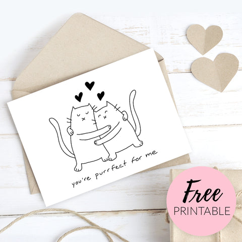 Free Printable Valentines Day Card for Cat Lover - You're Purrfect For Me - Cat couple hugging with hearts
