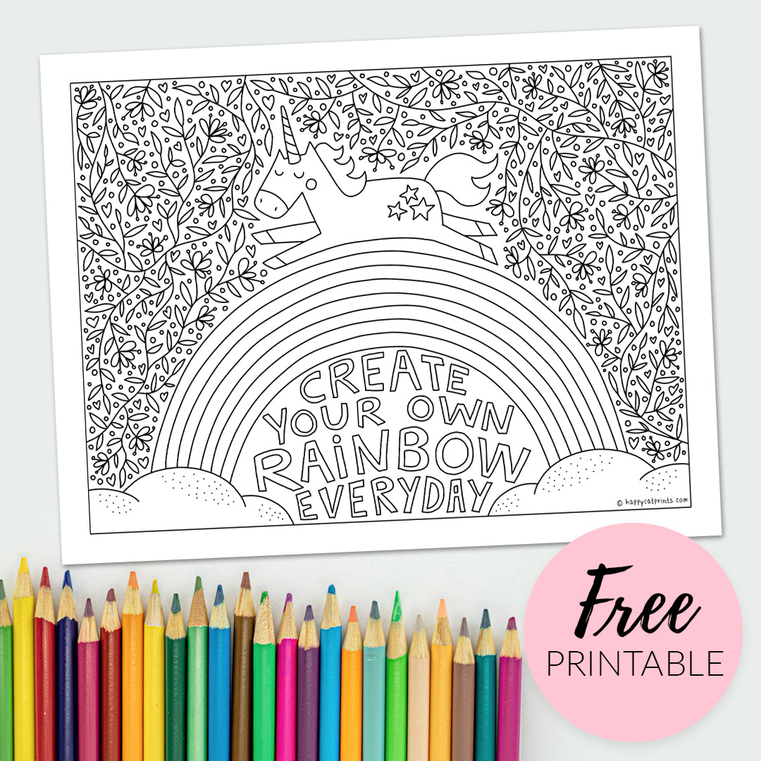 FREE Printable Coloring Page for Kids & Adults - Rainbow Unicorn