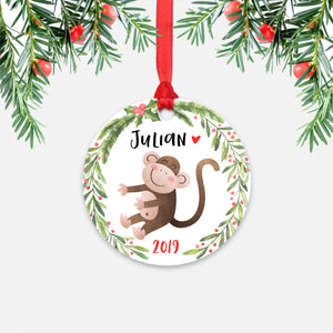 Monkey Jungle Animal Personalized Kids Name Christmas Ornament for Boy or Girl - Round Aluminum - Red ribbon