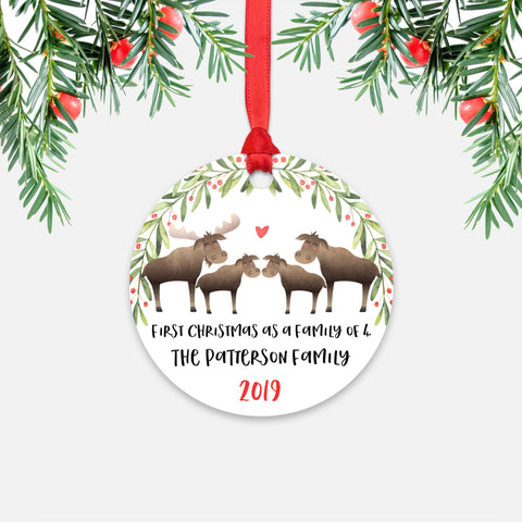 Moose Animal First Christmas as a Family of 4 Personalized Ornament for New Baby Girl Boy - Round Aluminum - Red ribbon