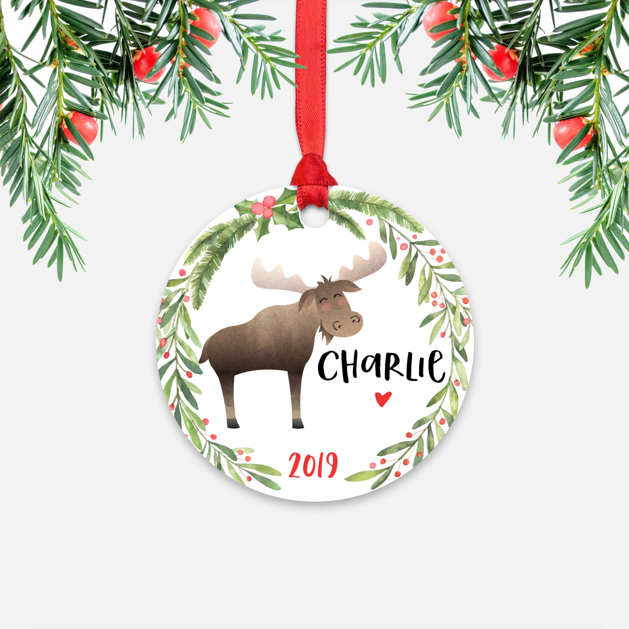 Moose Woodland Animal Personalized Kids Name Christmas Ornament for Boy or Girl - Round Aluminum - Red ribbon