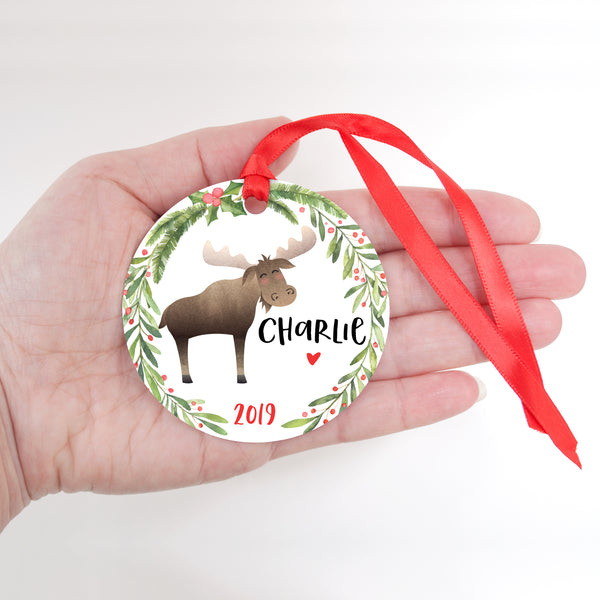 Moose Woodland Animal Personalized Kids Name Christmas Ornament for Boy or Girl - Round Aluminum - In hand