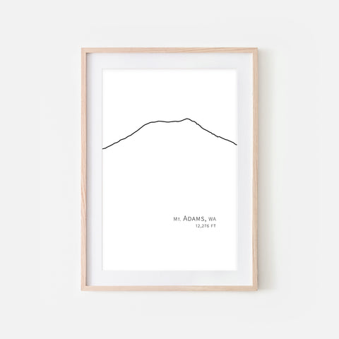 Mount Adams Cascade Range Pacific Northwest PNW Washington State WA USA Mountain Wall Art Print - Minimalist Peak Summit Elevation Contour One Line Drawing - Abstract Landscape - Black and White Home Decor Climbing Hiking Decor - Large Small Shipped Paper Print or Poster - OR - Downloadable Art Print DIY Digital Printable Instant Download - By Happy Cat Prints