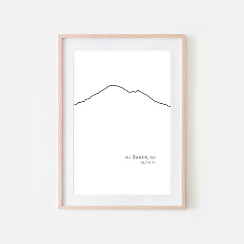 Mount Baker Cascade Range Pacific Northwest PNW Washington State WA USA Mountain Wall Art Print - Minimalist Peak Summit Elevation Contour One Line Drawing - Abstract Landscape - Black and White Home Decor Climbing Hiking Decor - Large Small Shipped Paper Print or Poster - OR - Downloadable Art Print DIY Digital Printable Instant Download - By Happy Cat Prints