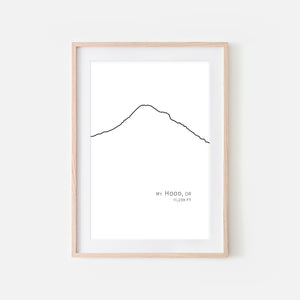 Mount Hood Cascade Range Pacific Northwest PNW Oregon OR USA Mountain Wall Art Print - Minimalist Peak Summit Elevation Contour One Line Drawing - Abstract Landscape - Black and White Home Decor Climbing Hiking Decor - Large Small Shipped Paper Print or Poster - OR - Downloadable Art Print DIY Digital Printable Instant Download - By Happy Cat Prints