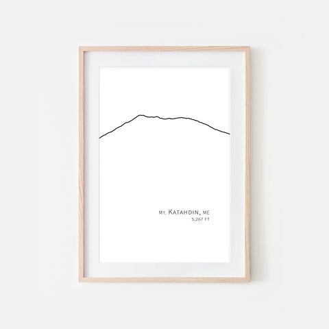 Mount Katahdin Maine ME USA Appalachian Mountain Wall Art Print - Minimalist Peak Summit Elevation Contour One Line Drawing - Abstract Landscape - Black and White Home Decor Climbing Hiking Decor - Large Small Shipped Paper Print or Poster - OR - Downloadable Art Print DIY Digital Printable Instant Download - By Happy Cat Prints