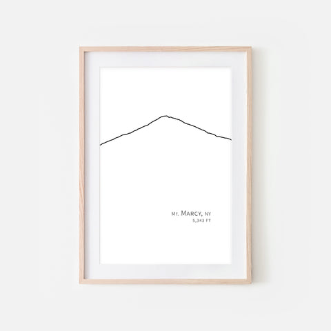 Mount Marcy High Peaks Adirondack Mountains New York NY USA Wall Art Print - Minimalist Peak Summit Elevation Contour One Line Drawing - Abstract Landscape - Black and White Home Decor Climbing Hiking Decor - Large Small Shipped Paper Print or Poster - OR - Downloadable Art Print DIY Digital Printable Instant Download - By Happy Cat Prints