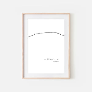 Mount Mitchell North Carolina NC USA Appalachian Mountain Wall Art Print - Minimalist Peak Summit Elevation Contour One Line Drawing - Abstract Landscape - Black and White Home Decor Climbing Hiking Decor - Large Small Shipped Paper Print or Poster - OR - Downloadable Art Print DIY Digital Printable Instant Download - By Happy Cat Prints