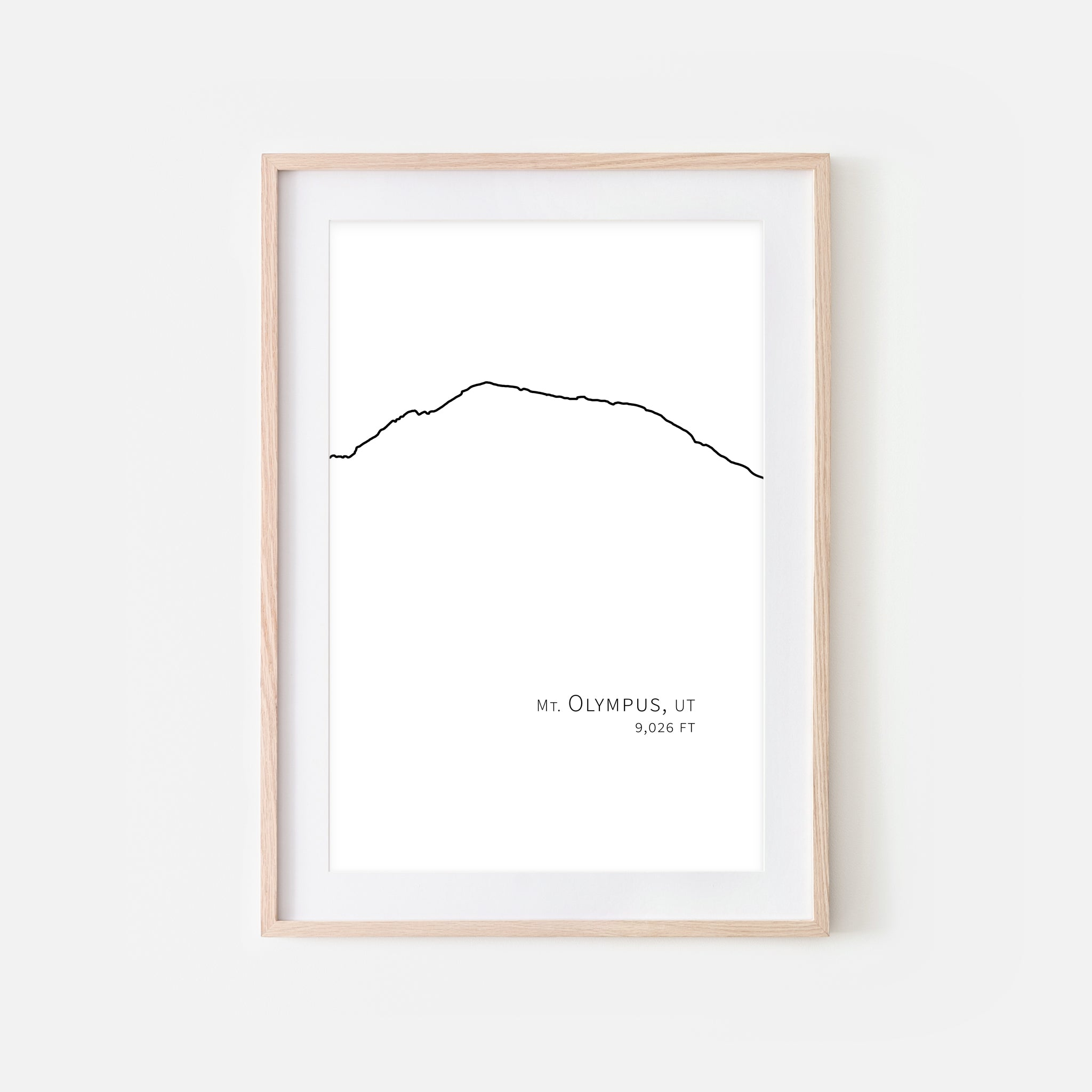 Mount Olympus Utah UT USA Mountain Wall Art Print - Minimalist Peak Summit Elevation Contour One Line Drawing - Abstract Landscape - Black and White Home Decor Climbing Hiking Decor - Large Small Shipped Paper Print or Poster - OR - Downloadable Art Print DIY Digital Printable Instant Download - By Happy Cat Prints
