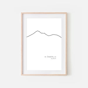 Mount Shasta California Cascades CA USA Mountain Wall Art Print - Minimalist Peak Summit Elevation Contour One Line Drawing - Abstract Landscape - Black and White Home Decor Climbing Hiking Decor - Large Small Shipped Paper Print or Poster - OR - Downloadable Art Print DIY Digital Printable Instant Download - By Happy Cat Prints