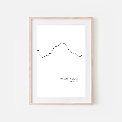 Mount Whitney Sierra Nevada California CA USA Mountain Wall Art Print - Minimalist Peak Summit Elevation Contour One Line Drawing - Abstract Landscape - Black and White Home Decor Climbing Hiking Decor - Large Small Shipped Paper Print or Poster - OR - Downloadable Art Print DIY Digital Printable Instant Download - By Happy Cat Prints